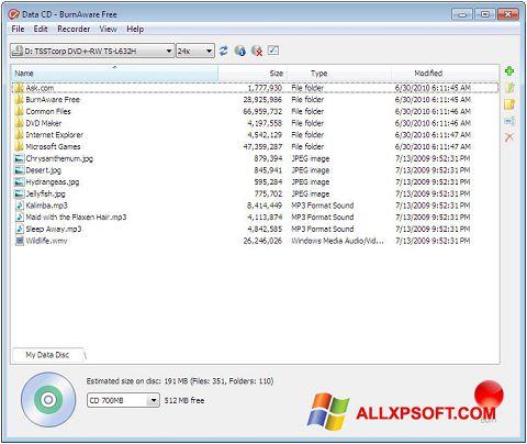 Posnetek zaslona BurnAware Free Windows XP