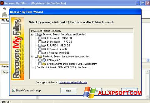 Posnetek zaslona Recover My Files Windows XP