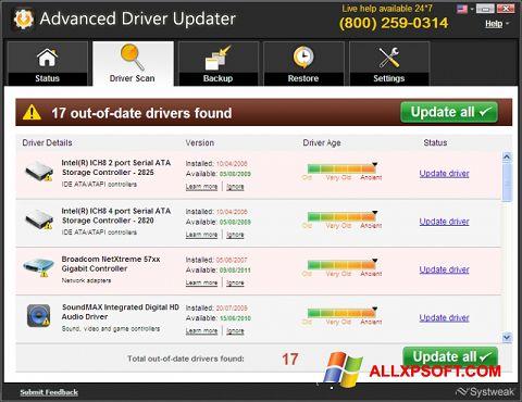 Posnetek zaslona Advanced Driver Updater Windows XP