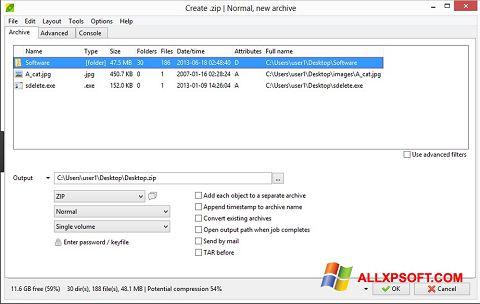 Posnetek zaslona PeaZip Windows XP