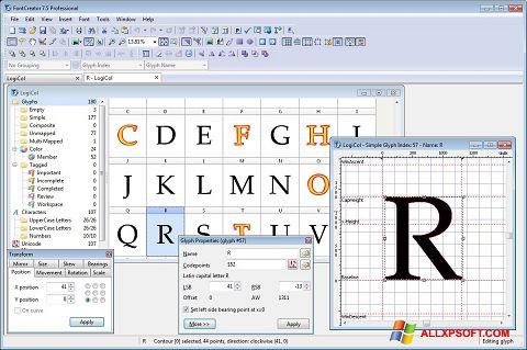 Posnetek zaslona Font Creator Windows XP