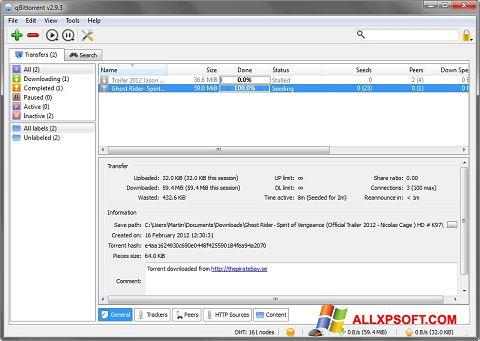 Posnetek zaslona qBittorrent Windows XP