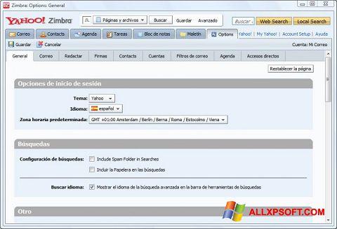 Posnetek zaslona Zimbra Desktop Windows XP