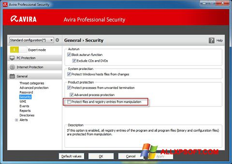 Posnetek zaslona Avira Professional Security Windows XP