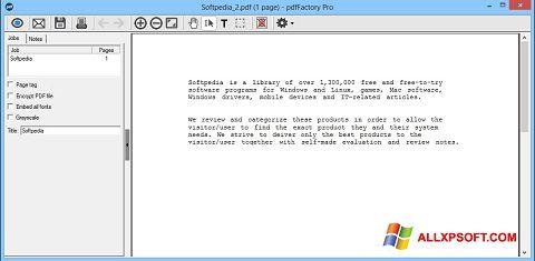 Posnetek zaslona pdfFactory Pro Windows XP