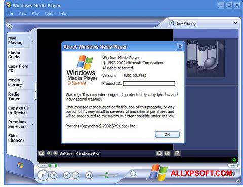 Posnetek zaslona Windows Media Player Windows XP