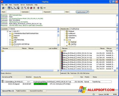 Posnetek zaslona FileZilla Windows XP