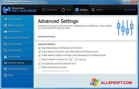 Posnetek zaslona Malwarebytes Anti-Malware Windows XP