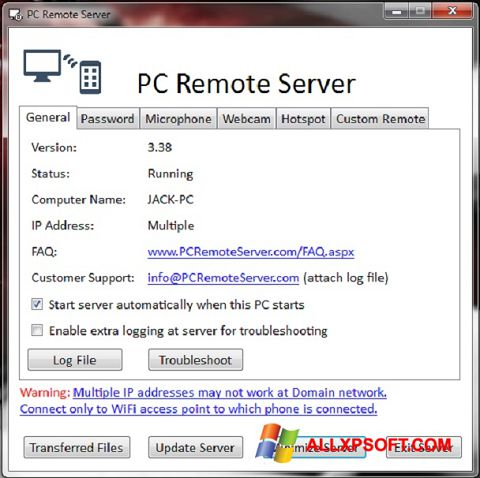 Posnetek zaslona PC Remote Server Windows XP