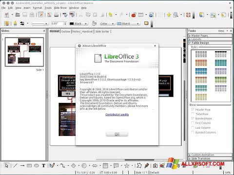 Posnetek zaslona LibreOffice Windows XP