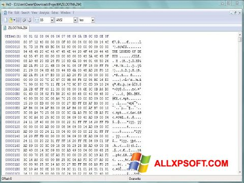 Posnetek zaslona HxD Hex Editor Windows XP