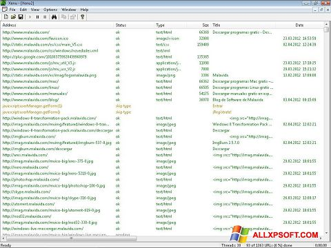 Posnetek zaslona Xenu Windows XP