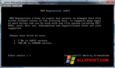 Posnetek zaslona HDD Regenerator Windows XP