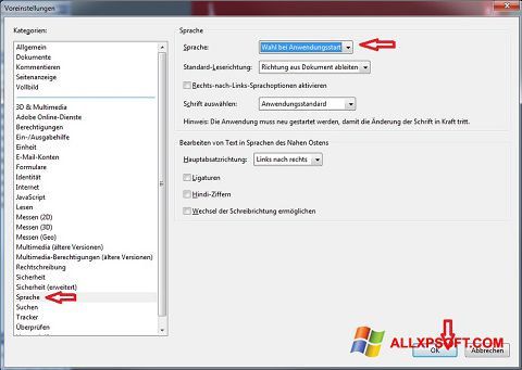 Posnetek zaslona Adobe Reader Windows XP