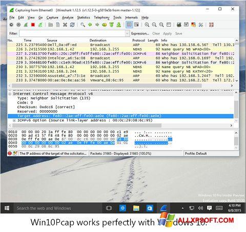 Posnetek zaslona WinPcap Windows XP