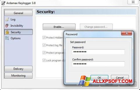 Posnetek zaslona Ardamax Keylogger Windows XP