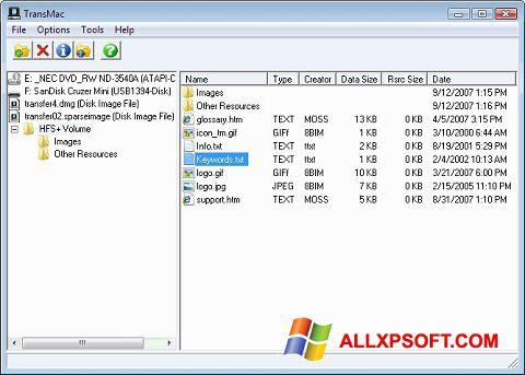 Posnetek zaslona TransMac Windows XP
