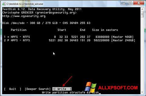 Posnetek zaslona TestDisk Windows XP