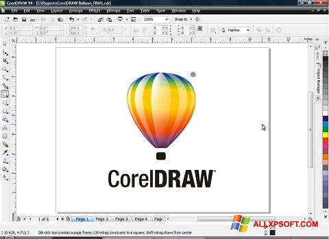 Posnetek zaslona CorelDRAW Windows XP