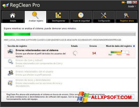 Posnetek zaslona RegClean Pro Windows XP