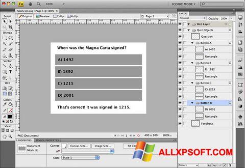 Posnetek zaslona Adobe Fireworks Windows XP