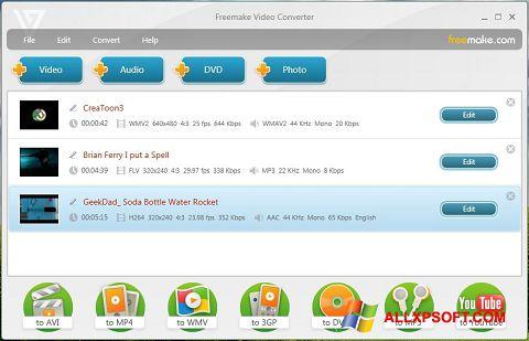 Posnetek zaslona Freemake Video Converter Windows XP