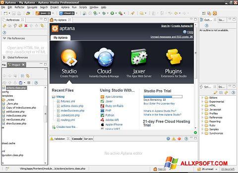 Posnetek zaslona Aptana Studio Windows XP
