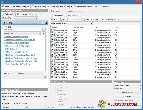 Posnetek zaslona ReNamer Windows XP