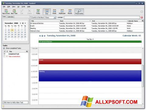 Posnetek zaslona Mozilla Sunbird Windows XP