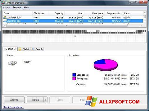 Posnetek zaslona Defraggler Windows XP