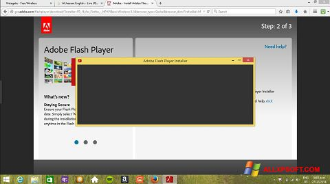 Posnetek zaslona Adobe Flash Player Windows XP