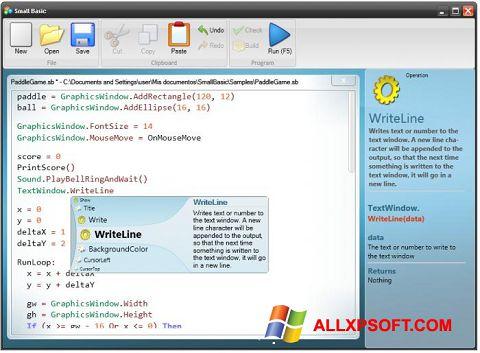 Posnetek zaslona Small Basic Windows XP