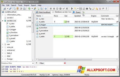 Posnetek zaslona HeidiSQL Windows XP