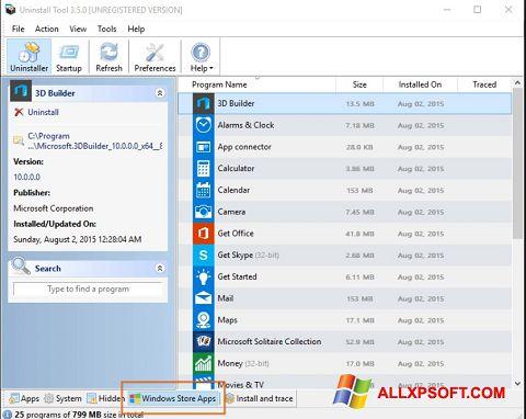 Posnetek zaslona Uninstall Tool Windows XP