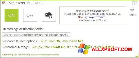 Posnetek zaslona MP3 Skype Recorder Windows XP