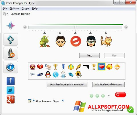 Posnetek zaslona Skype Voice Changer Windows XP