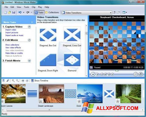 Posnetek zaslona Windows Movie Maker Windows XP