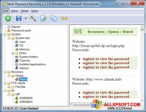 Posnetek zaslona Multi Password Recovery Windows XP