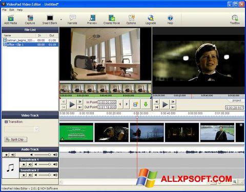 Posnetek zaslona VideoPad Video Editor Windows XP