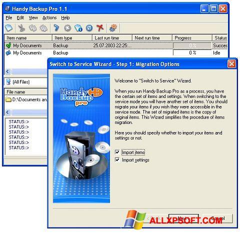 Posnetek zaslona Handy Backup Windows XP