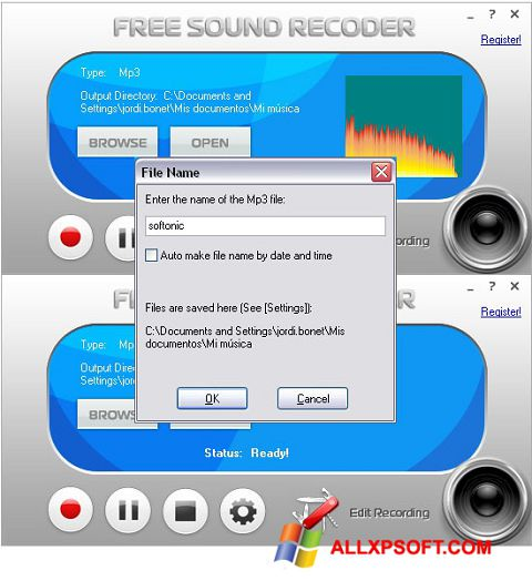 Posnetek zaslona Free Sound Recorder Windows XP