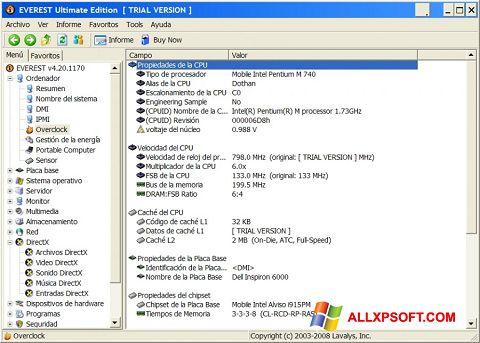 Posnetek zaslona EVEREST Ultimate Edition Windows XP