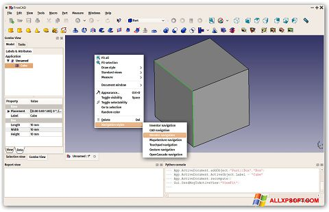 Posnetek zaslona FreeCAD Windows XP
