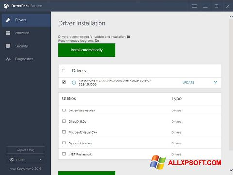 Posnetek zaslona DriverPack Solution Windows XP