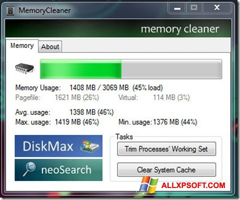Posnetek zaslona Memory Cleaner Windows XP