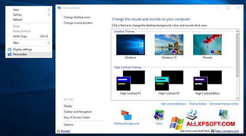 Posnetek zaslona Personalization Panel Windows XP