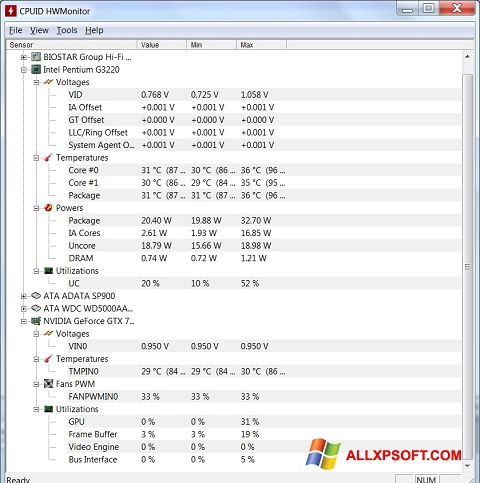 Posnetek zaslona HWMonitor Windows XP