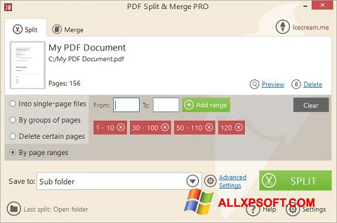 Posnetek zaslona PDF Split and Merge Windows XP