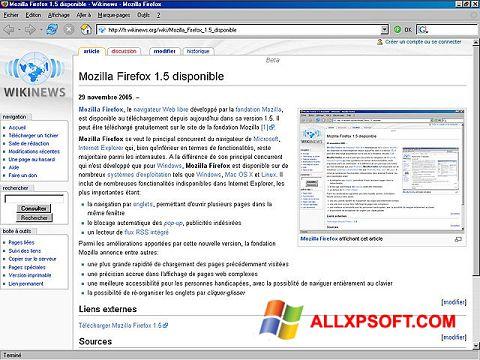 Posnetek zaslona Mozilla Firefox Windows XP