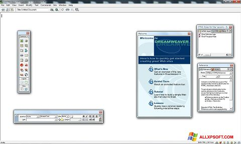 Posnetek zaslona Macromedia Dreamweaver Windows XP